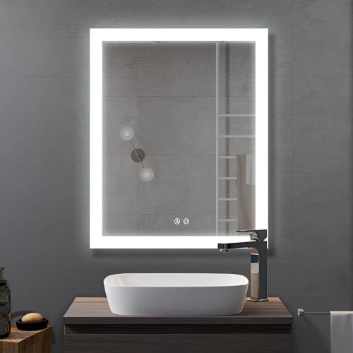 Bathroom Smart Backlit Lighted Mirror with Defogger and Touch dimming Switch, Very Light White Color Make Up Vanity Mirror, 28 x 36 Inch