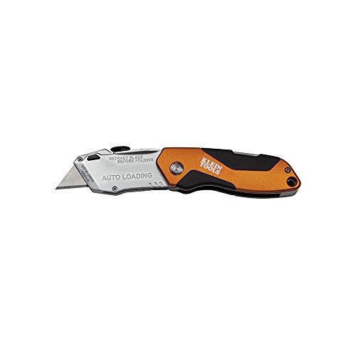 Auto-Loading Folding Utility Knife Klein Tools 44130, Orange/Black