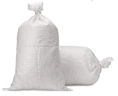 UpNorth Sand Bags - Empty White Woven Polypropylene Sandbags w/Ties, w/UV Protection; size: 14' x 26', Qty of 10