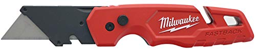Milwaukee 48-22-1502 Fastback Folding Utility Knife with 5 Blade Storage, Wire Stripping Compartment, and Gut Hook
