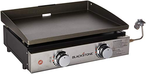 Blackstone 1666 Heavy Duty Flat Top Grill Station, Camp, Outdoor, Tailgating, Tabletop – Stainless Steel Griddle with Knobs & Ignition, 22 Inch, Black
