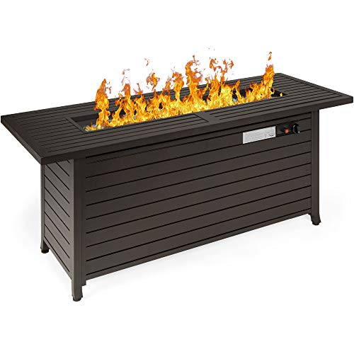 Best Choice Products 57in 50,000 BTU Rectangular Extruded Aluminum Gas Fire Pit Table w/Burner Lid, Storage, Cover, Glass Rocks - Dark Brown