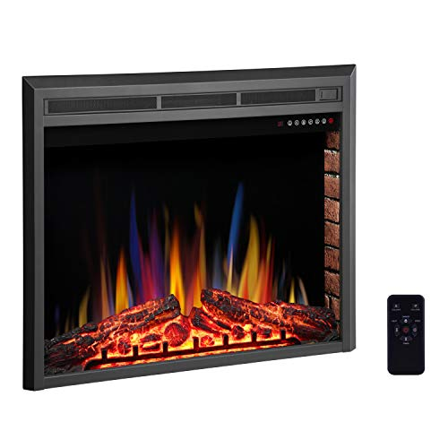 R.W.FLAME 36' Electric Fireplace Insert ,Recessed Electric Stove Heater,Touch Screen,Remote Control,750W-1500W with Timer & Colorful Flame Option