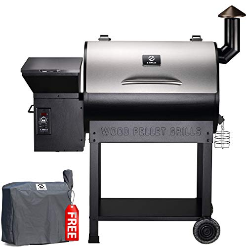 Z GRILLS ZPG-7002E 2020 Upgrade Wood Pellet Grill & Smoker, 8 in 1 BBQ Grill Auto Temperature Control, 700 sq inch Cooking Area, Silver Cover Included