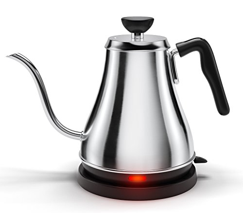 Electric Gooseneck Kettle - Rapid Boil Electric Kettle Water Heater for Pour Over Coffee and Tea - 1L Water Boiler Tea Kettle Teapot Dripper