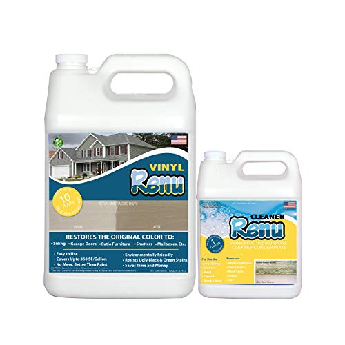 Vinyl Renu® 1 Gallon Siding Restorer-Restores The Original Color And Shine To All Siding Types As Well As Faded Plastic, Metal & Painted Surfaces. Penetrates, Conditions & Protects. Easy To Apply