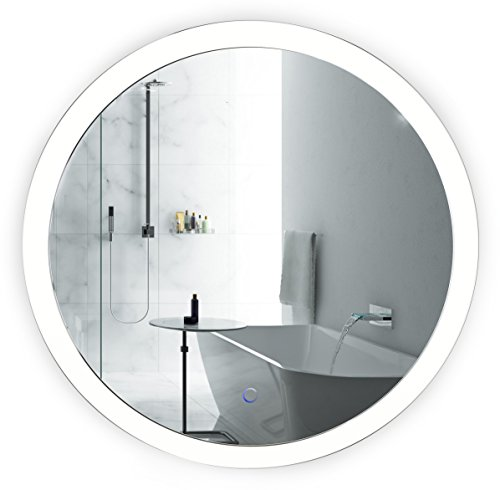 Krugg LED Bathroom Round Mirror 27 Inch Diameter | Lighted Vanity Mirror Includes Dimmer and Defogger | Silver Backed Glass