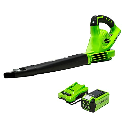 Greenworks 40V (150 MPH) Cordless Leaf Blower, 2.0Ah Battery and Charger Included 24252