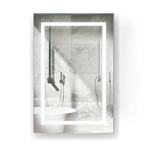 Krugg LED Medicine Cabinet 24 Inch X 36 Inch   Recessed or Surface Mount Mirror Cabinet w/Dimmer & Defogger + 3X Makeup Mirror Inside & Outlet + USB - Left Side