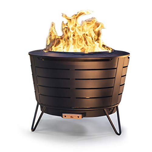 TIKI Brand 25 Inch Stainless Steel Low Smoke Fire Pit - Includes Free Wood Pack and Cloth Cover!!