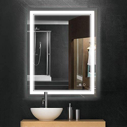 Keonjinn 36 x 28 Inch Bathroom LED Vanity Mirror Anti-Fog Wall Mounted Makeup Mirror with Light (Horizontal/Vertical)