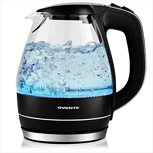 Ovente Portable Electric Glass Kettle 1.5 Liter with Blue LED Light and Stainless Steel Base, Fast Heating Countertop Tea Maker Hot Water Boiler with Auto Shut-Off & Boil Dry Protection, Black KG83B