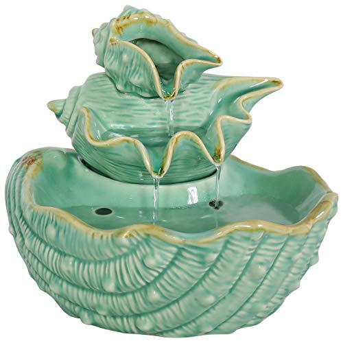Sunnydaze 7-Inch Stacked Seashells Waterfall Indoor Tabletop Fountain - Shell Water Feature for Desktop and Table - Small Mini Decorative Water Fountain for Home and Office