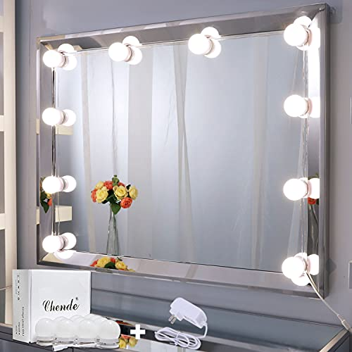 Chende LED Vanity Mirror Lights, 11.53ft Hollywood Make Up Light for Vanity Stick on, 10 Large Daylight Dimmable Bulbs with AC Adapter, for Makeup Vanity Table & Bathroom Mirror, Mirror Not Included