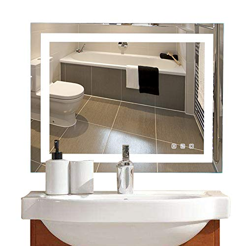 Bonnlo 36'×28' Dimmable LED Illuminated Bathroom Mirror with Bluetooth Speaker, Anti-Fog Wall Mounted Bathroom Vanity Mirror,Smart Vanity Mirror with Memory Touch Button  Hangs Vertically/Horizontally