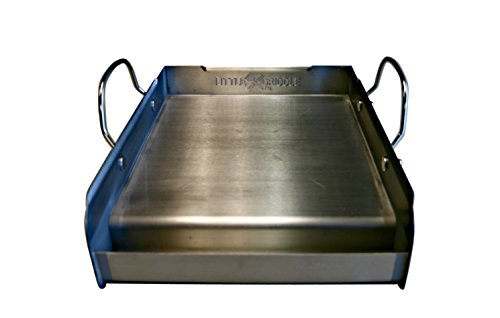 griddle-Q GQ120 100% Stainless Steel Medium-Sized Professional Griddle with Even Heating Bracing and Removable Handles for Charcoal/Gas Grills, Camping, Tailgating, and Parties (14'x16'x6.5')
