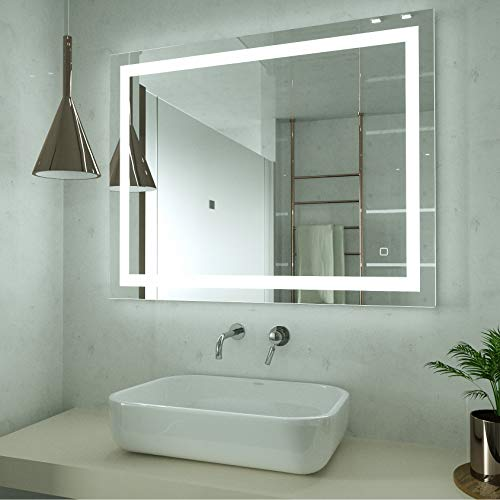 HAUSCHEN 32 x 24 inch LED Lighted Bathroom Wall Mounted Mirror with 5500K High Lumen + CRI 95 Cold White Lights and Anti Fog and Dimmable Memory Touch Button + IP44 Waterproof + Vertical & Horizontal
