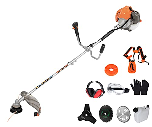 PROYAMA 42.7cc 2 in 1 Extreme Duty 2-Cycle Gas Brush Cutter and Dual Line Trimmer, Grass Trimmer, Weed Eater 2021 Upgraded