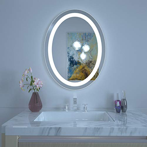 HAUSCHEN Oval 30x23 LED Lighted Bathroom Wall Mounted Mirror with High Lumen+CRI 95 Adjustable Color Temperature+Anti-Fog Separately Control+Dimmer Function+IP44 Waterproof