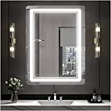 Keonjinn 28 x 36 Inch LED Mirror, Lighted Bathroom Mirror, Wall Mounted Anti-Fog Dimmable LED Vanity Mirror with Lights, Rounded Arc Corner (Vertical/Horizontal)
