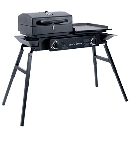 """Blackstone Grills Tailgater - Portable Gas Grill and Griddle Combo - Barbecue Box - Two Open Burners """" Griddle Top - Adjustable Legs - Camping Stove Great for Hunting, Fishing, Tailgating and More"""