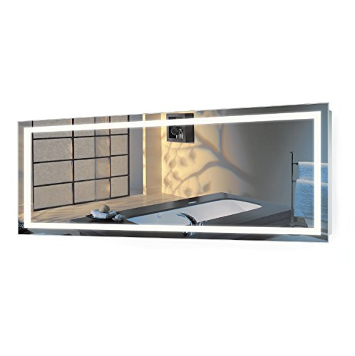 Large LED Bathroom Mirror | Lighted Vanity Mirror Includes Dimmer & Defogger | Wall Mount Vertical or Horizontal Installation