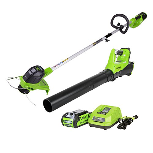 GreenWorks G-MAX 40V Cordless String Trimmer and Leaf Blower Combo Pack STBA40B210
