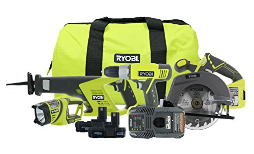 Ryobi P883 One+ 18V Lithium Ion Cordless Contractor's Kit (8 Pieces: 1 x P704 Worklight, 1 x P515 Reciprocating Saw, 1 x Circular Saw, 1 x P271 Drill / Driver, 2 x Batteries, 1 x Charger, 1 x Bag)