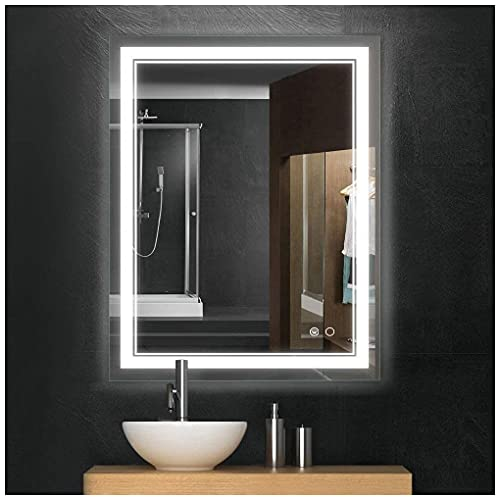Keonjinn 36 x 28 Inch LED Mirror Bathroom Vanity Mirror, Wall Mounted Anti-Fog Dimmable Lights Makeup Mirror with Touch Switch(Horizontal/Vertical)