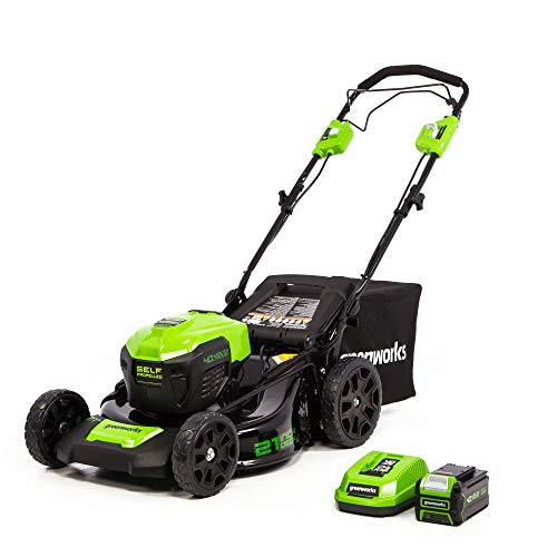 Greenworks 40V 21-Inch Cordless Brushless Self-Propelled Lawn Mower, 5.0Ah Battery and Charger, LMF403