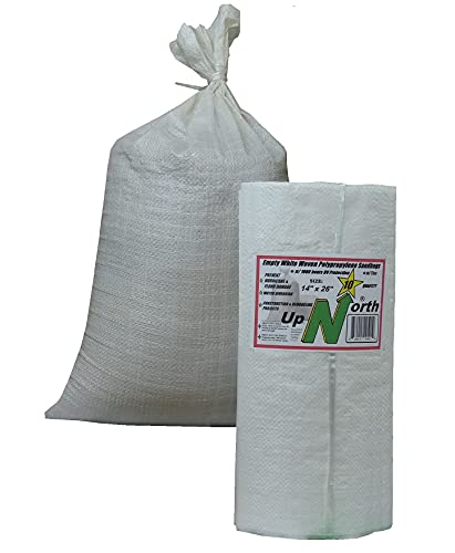 UpNorth Sandbags - Empty Woven Polypropylene Sand Bags w/Ties, w/UV Protection; size: 14' x 26', color: White, Qty of 10