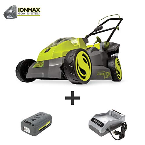 Sun Joe iON16LM 40-Volt 16-Inch Brushless Cordless Lawn Mower, Kit (w/4.0-Ah Battery + Quick Charger), ION16LM