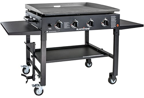 """Blackstone 1554 Cooking 4 Burner Flat Top Gas Grill Propane Fuelled Restaurant Grade Professional 36"""" Outdoor Griddle Station with Side Shelf, 36 Inch, Black"""