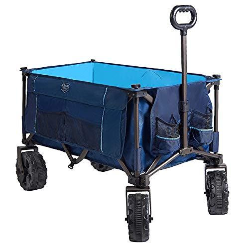 Timber Ridge Folding Wagon Collapsible Utility Outdoor Cart for Camping/Garden/Beach/All Terrain, Light Blue