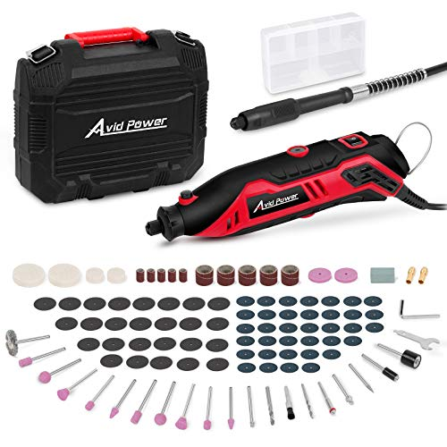 AVID POWER Rotary Tool Kit Variable Speed with Flex Shaft, 107pcs Accessories and Carrying Case for Grinding, Cutting, Wood Carving, Sanding, and Engraving