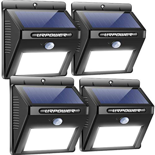 URPOWER Solar Lights Outdoor, Motion Sensor Security Lights Solar Flood Lights Waterproof Solar Powered Outdoor Lights for Backyard, Fence, Deck, Patio, Garage (4 Pack)