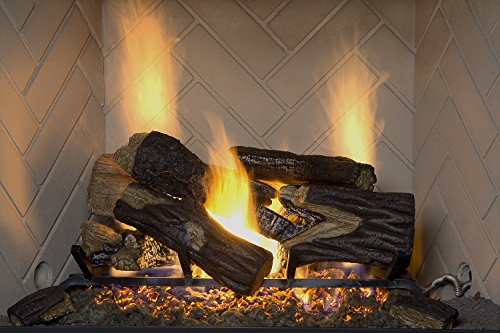 Emberside by SureHeat BRO24NG Burnt River Oak Vented Gas Log Set, 24-Inch, Natural Gas