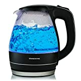 Ovente 1.5L BPA-Free Glass Electric Kettle, Fast Heating with Auto Shut-Off and Boil-Dry Protection, Black (KG83B)