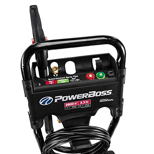 PowerBoss 2800 MAX PSI at 2.1 GPM Gas Pressure Washer with Detergent Injection, 25-Foot High-Pressure Hose, and 3 Quick-Connect Nozzles, Powered by HONDA