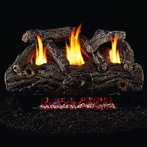Peterson Real Fyre 24-inch Golden Oak Designer Log Set With Vent-free Natural Gas Ansi Certified G9 Burner - Variable Flame Remote