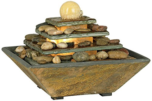 Four Tiers Feng Shui Copper and Slate Table Fountain
