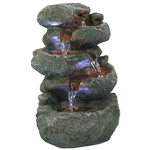 Sunnydaze Tabletop Water Fountain with LED Lights - Stacked Rocks Indoor Waterfall Feature - Quiet and Relaxing Water Sound - Small 10.5 Inch Desktop Size - Home Decor for Bedroom or Dining Area