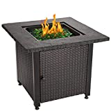 Endless Summer 30' Outdoor Propane Gas Rock Top Fire Pit (Green Fire Glass)