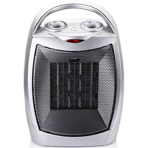 700W/1500W Ceramic Space Heater with Adjustable Thermostat, Portable Electric Heater Fan with Overheat Protection and Tip Over Protection for Office Home Bedroom