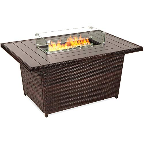 Best Choice Products 52in 50,000 BTU Outdoor Wicker Patio Propane Gas Fire Pit Table w/Aluminum Tabletop, Glass Wind Guard, Clear Glass Rocks, Cover, Slide Out Tank Holder, and Lid, Brown