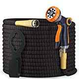 Expandable Garden Hose Kit 50-100 ft - Superior Strength 3750D - 4-Layers Latex, Extra-Strong Brass Connector- 8-Way Durable Zinc Water Spray Nozzle 2 Way Pocket Flexible (50FT SET)