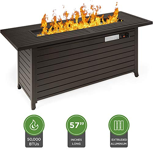 Best Choice Products 57in 50,000 BTU Rectangular Extruded Aluminum Gas Fire Pit Table w/Storage, Cover, Glass Beads