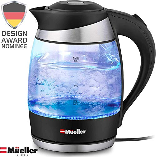 Mueller Premium 1500W Electric Kettle Water Heater with SpeedBoil Tech, 1.8 Liter Cordless with LED Light, Borosilicate Glass, BPA-Free with Auto Shut-Off and Boil-Dry Protection