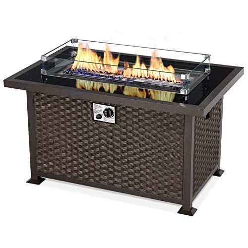 U-MAX 44in Outdoor Propane Gas Fire Pit Table, 50,000 BTU Auto-Ignition Gas Firepit with Glass Wind Guard, Black Tempered Glass Tabletop & Blue Glass Rock, Brown PE Rattan, CSA Certification