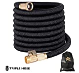 Heavy Duty Expandable Garden Hose | Strongest Expanding Triple Layer Latex Core | Durable Nylon Fabric | Solid Brass Fittings | Shut Off Water Valve | Gift/Storage Bag (75, Black)